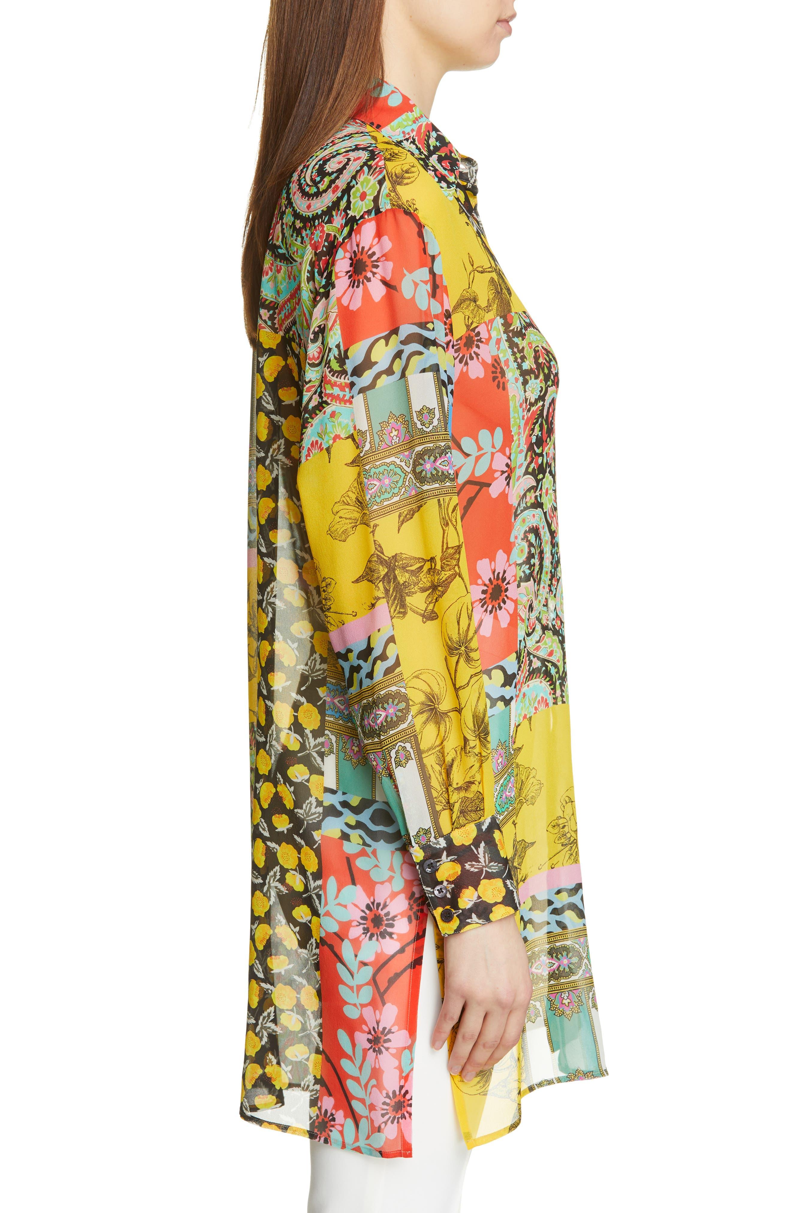 ,                             Patchwork Print Silk Tunic,                             Alternate thumbnail 3, color,                             YELLOW