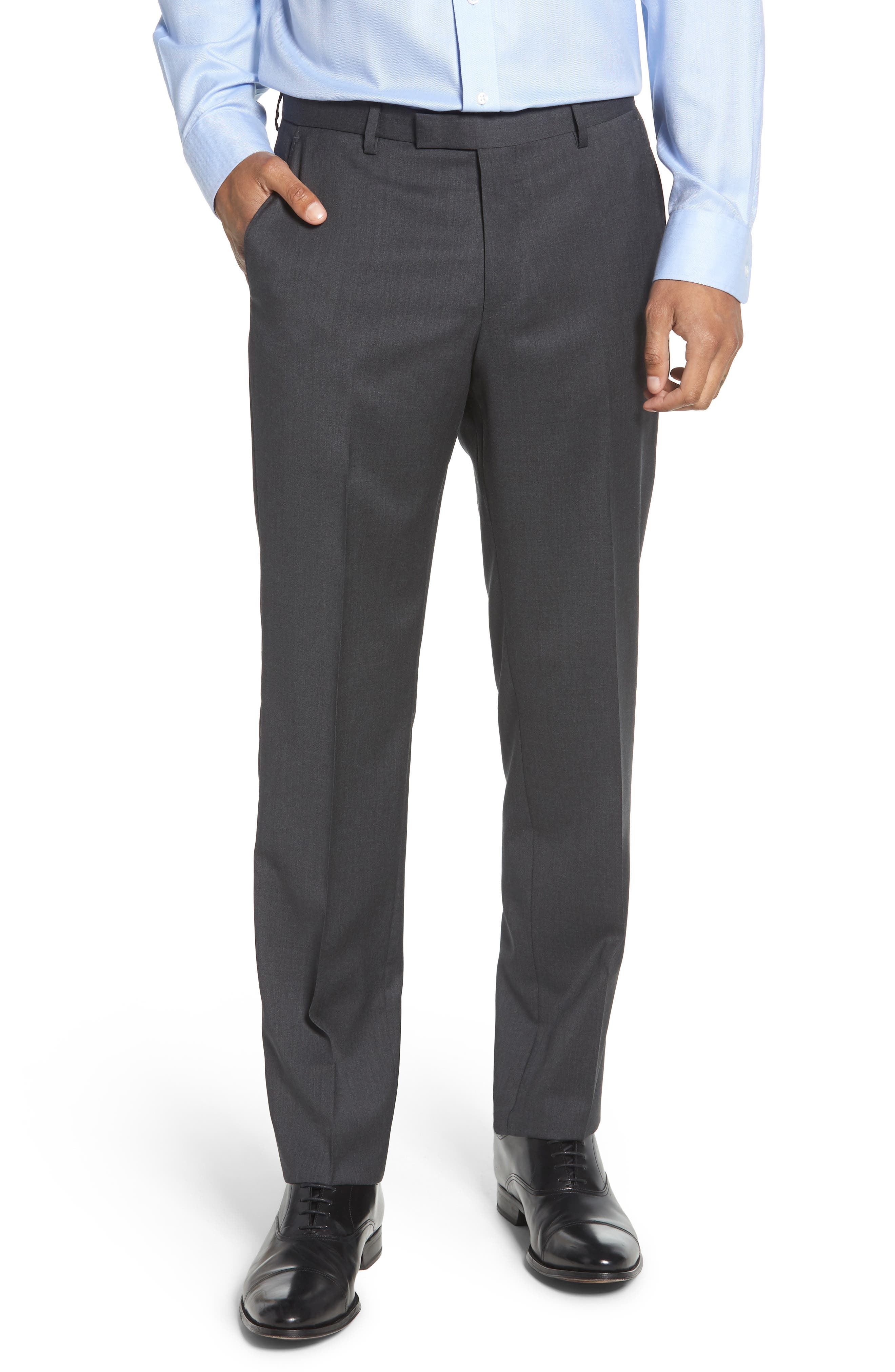 ,                             Leenon Flat Front Regular Fit Solid Wool Trousers,                             Main thumbnail 1, color,                             CHARCOAL