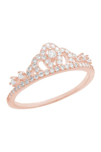 Image of Savvy Cie 18K Rose Gold Vermeil Pave CZ Crown Ring