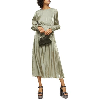 Topshop Smocked Long Sleeve Midi Dress, US (fits like 2-4) - Green