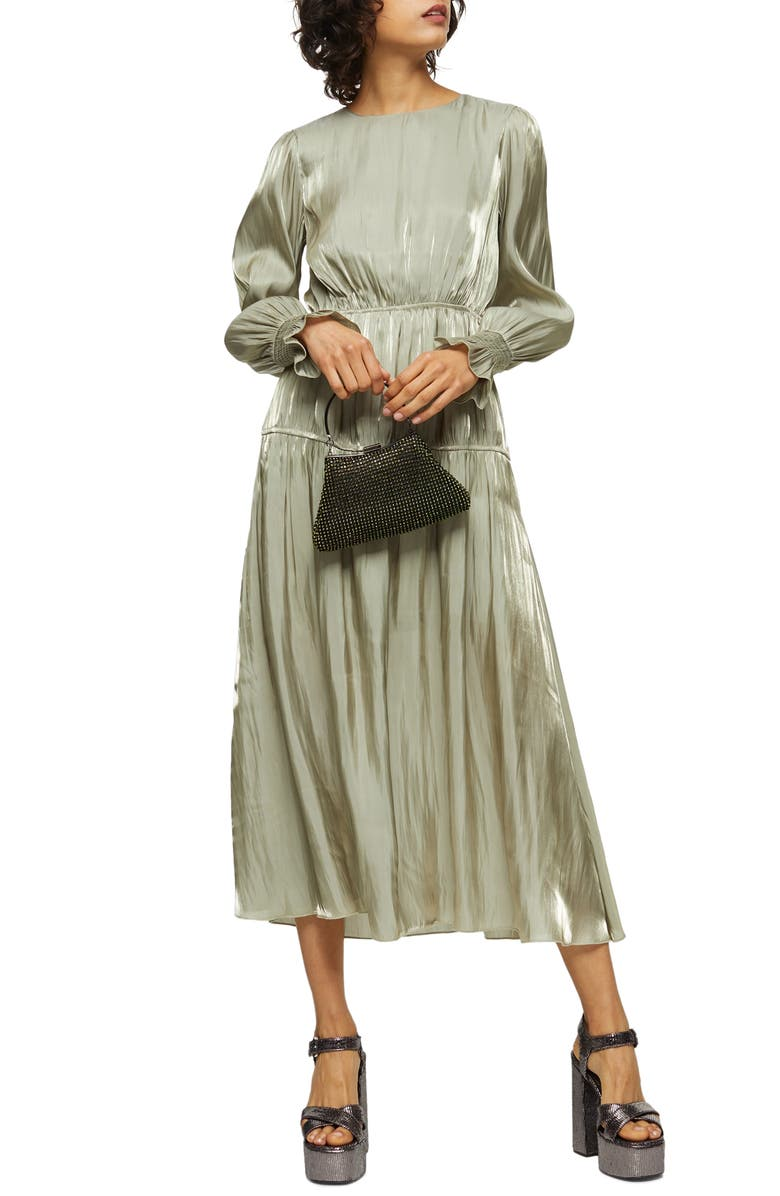 TOPSHOP Smocked Long Sleeve Midi Dress, Main, color, GREEN