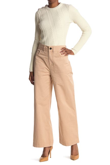 Image of GANNI High Rise Stretch Wide Leg Chino Pants