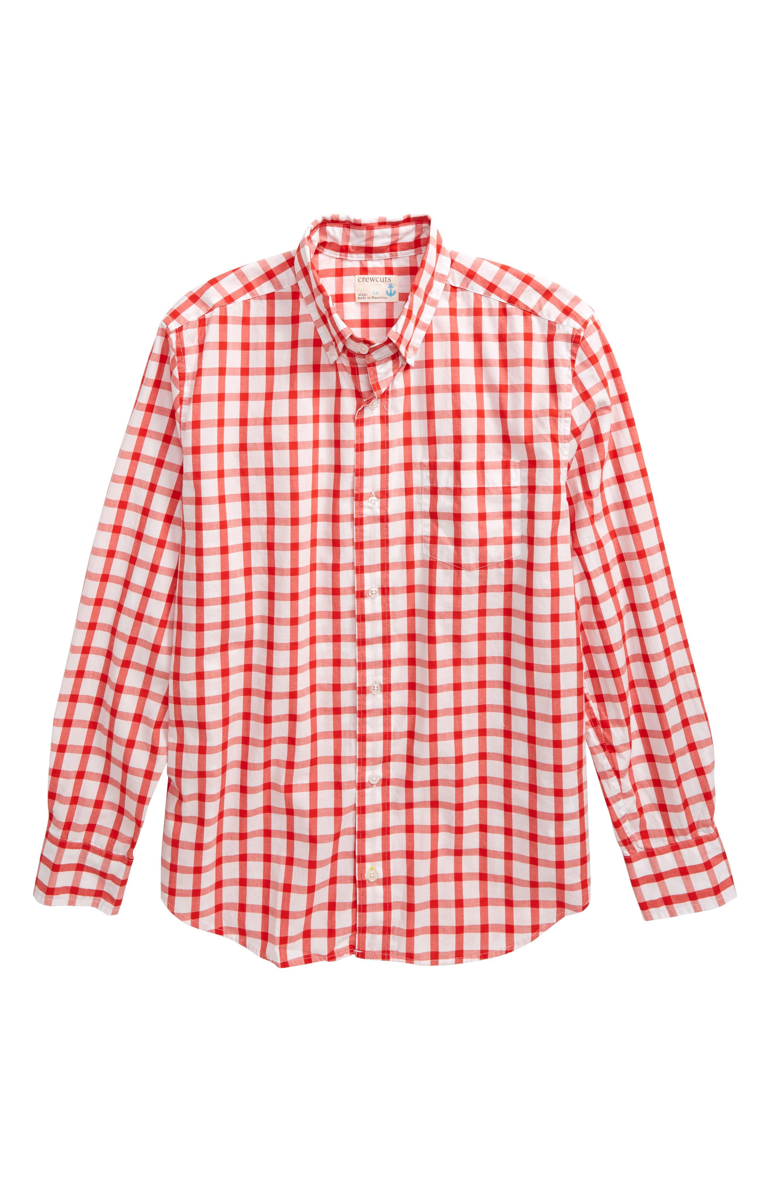 ,                             Check Stretch Poplin Shirt,                             Main thumbnail 1, color,                             WHITE/ RED