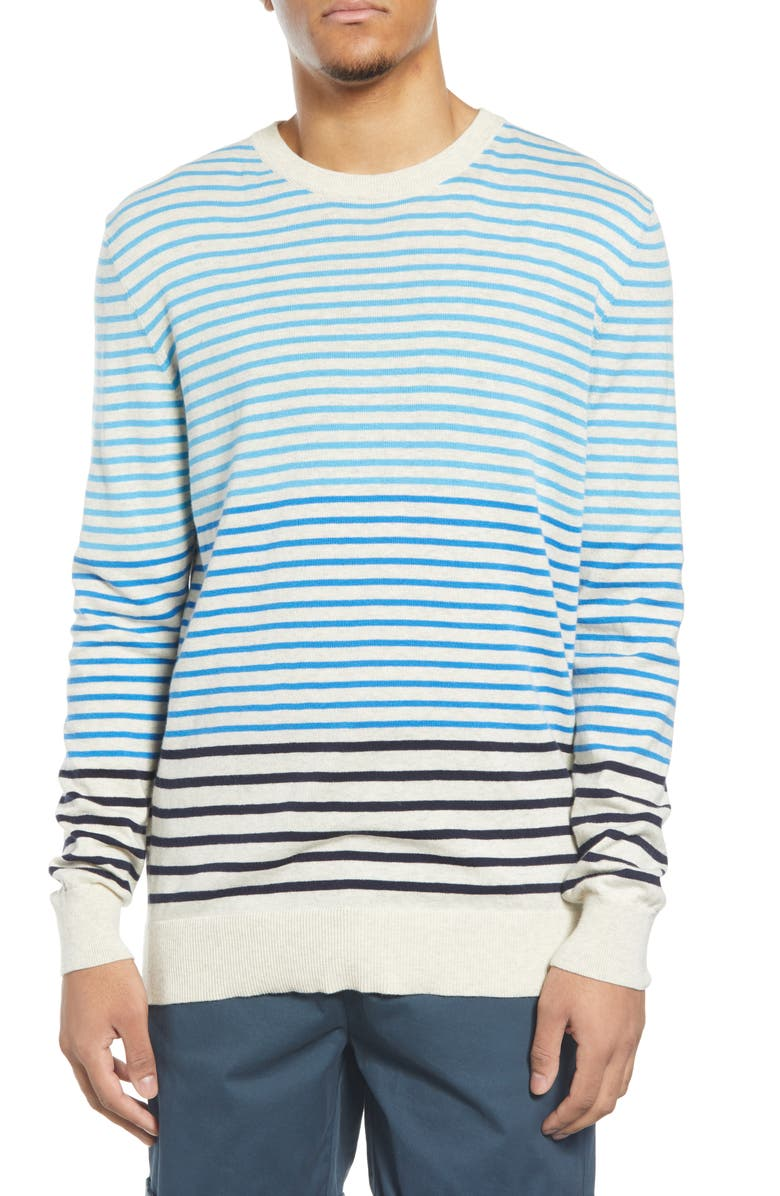 SCOTCH & SODA Stripe Longline Crewneck Sweater, Main, color, IVORY