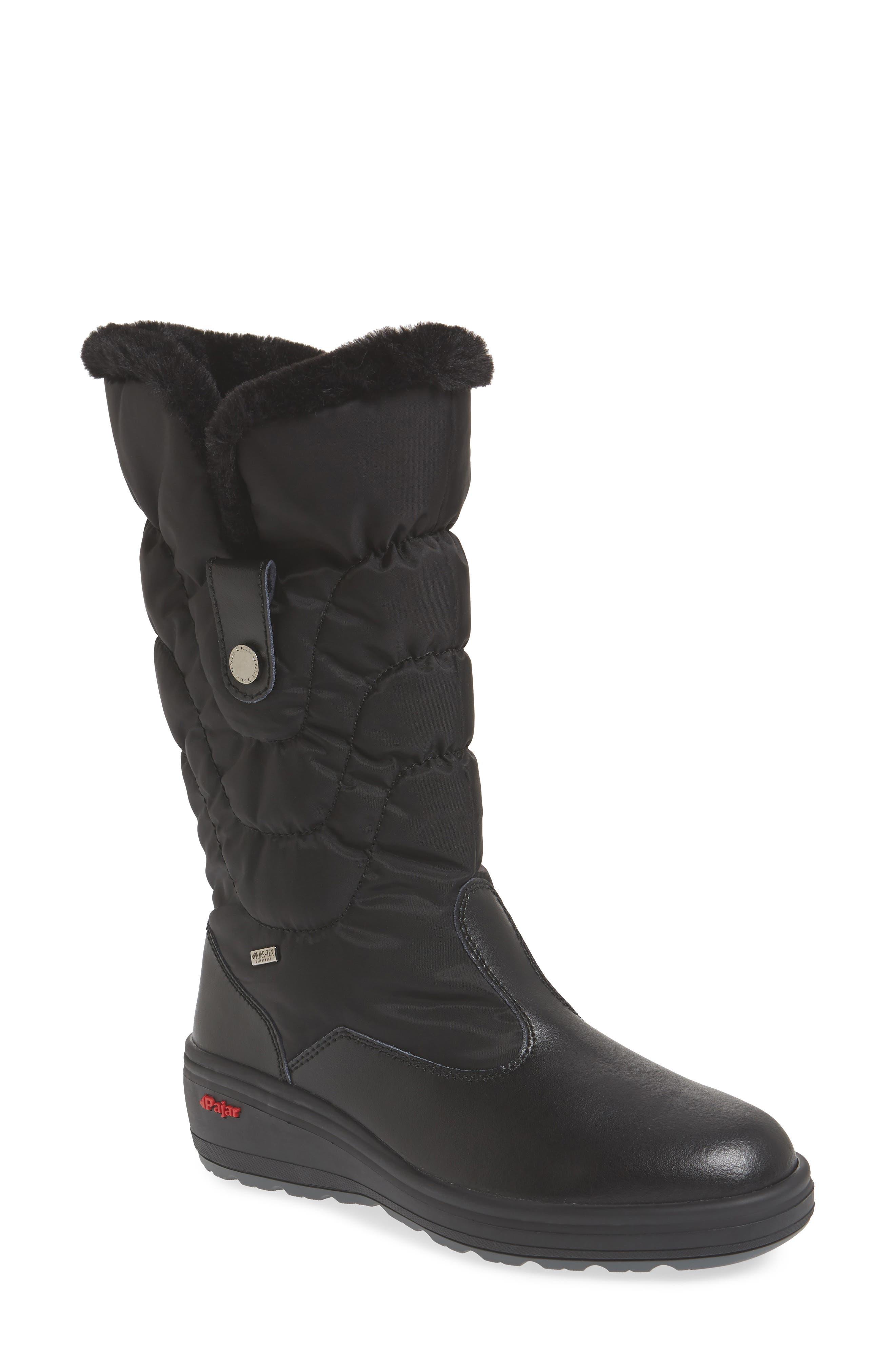 Pajar Waterproof Boot With Faux Fur Cuff, Black