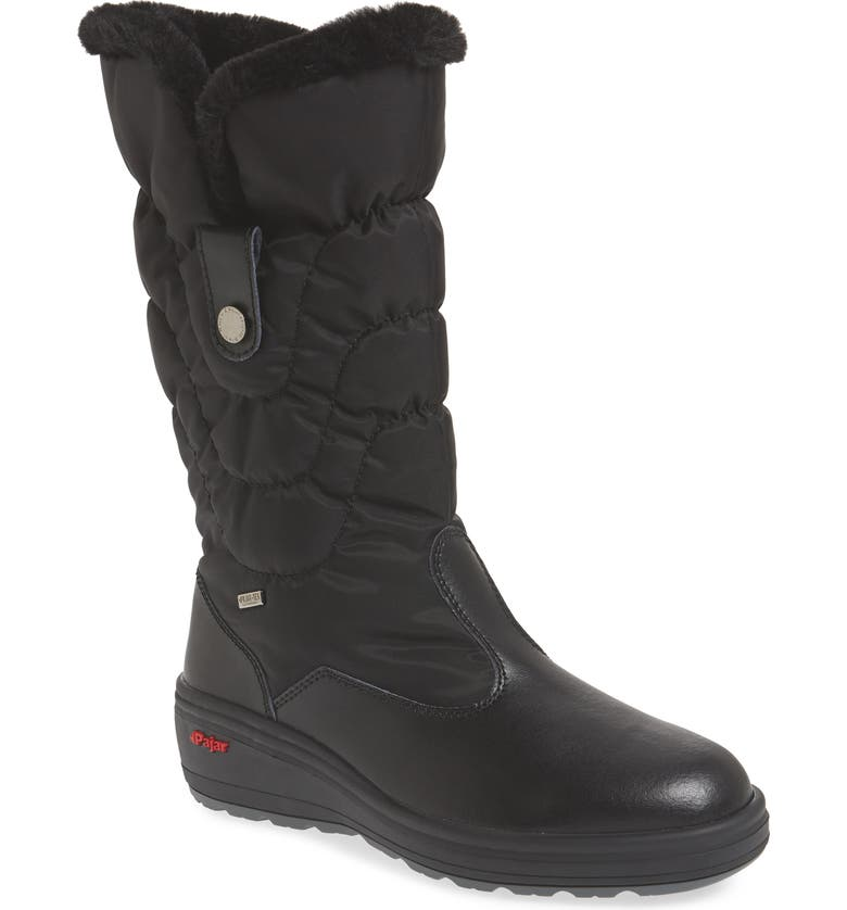 PAJAR Waterproof Boot with Faux Fur Cuff, Main, color, BLACK LEATHER