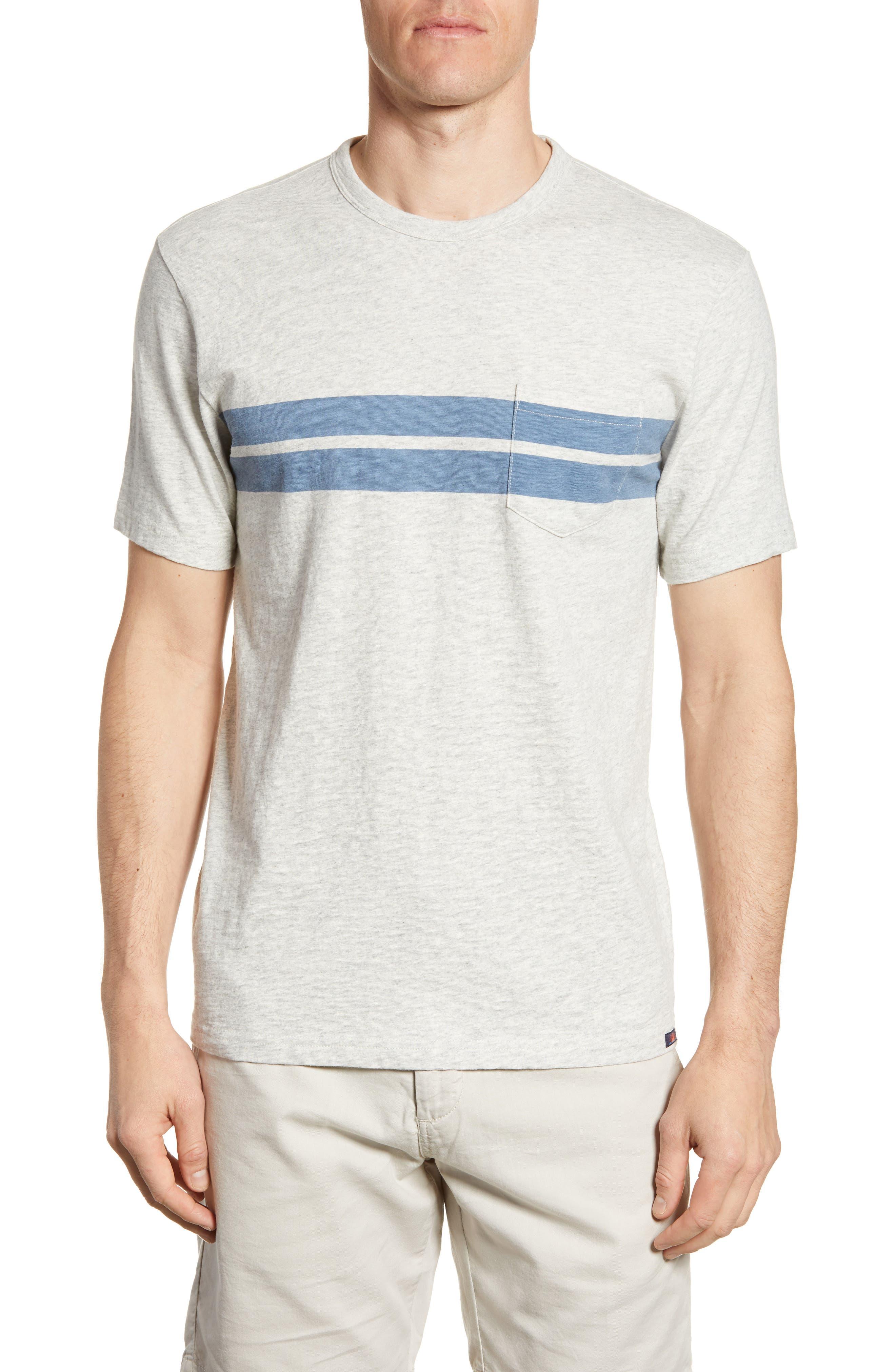 Faherty Twin Stripe Pocket T-Shirt, Grey