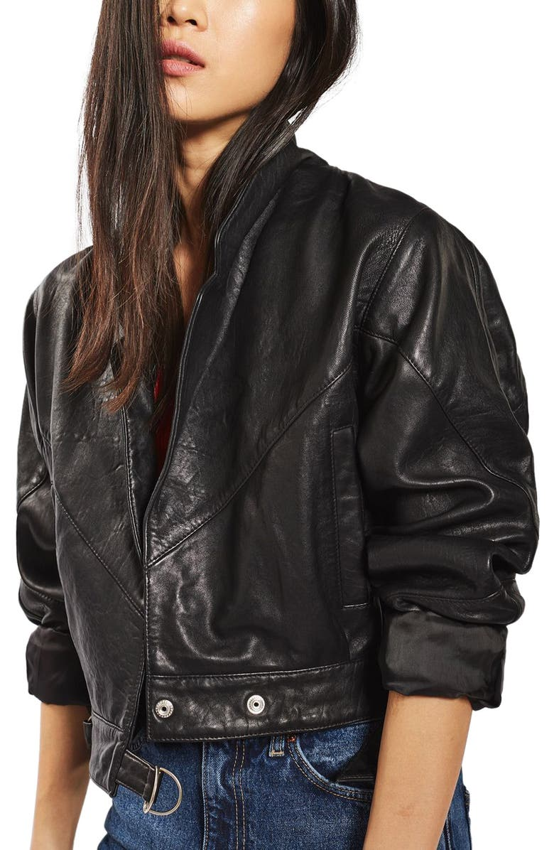 TOPSHOP Maggie Cropped Leather Jacket, Main, color, 001