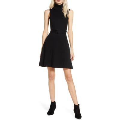 Chelsea28 Belted Turtleneck Dress, Black