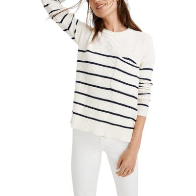 Madewell Thompson Nautical Stripe Pocket Pullover Sweater, Ivory