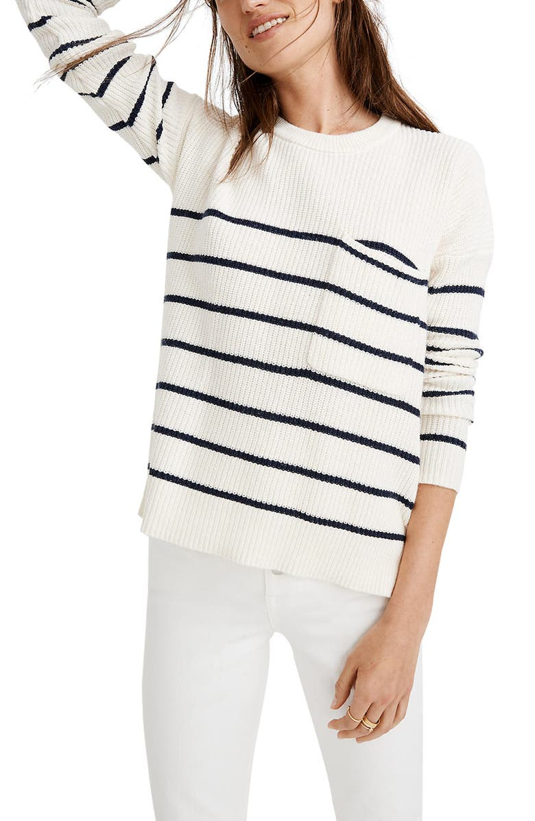 MADEWELL Thompson Nautical Stripe Pocket Pullover Sweater, Main, color, PEARL IVORY