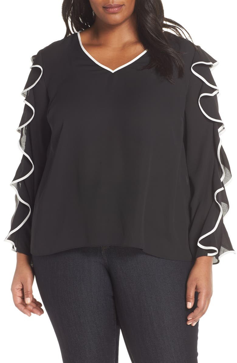 CECE Ruffle Sleeve Top, Main, color, RICH BLACK