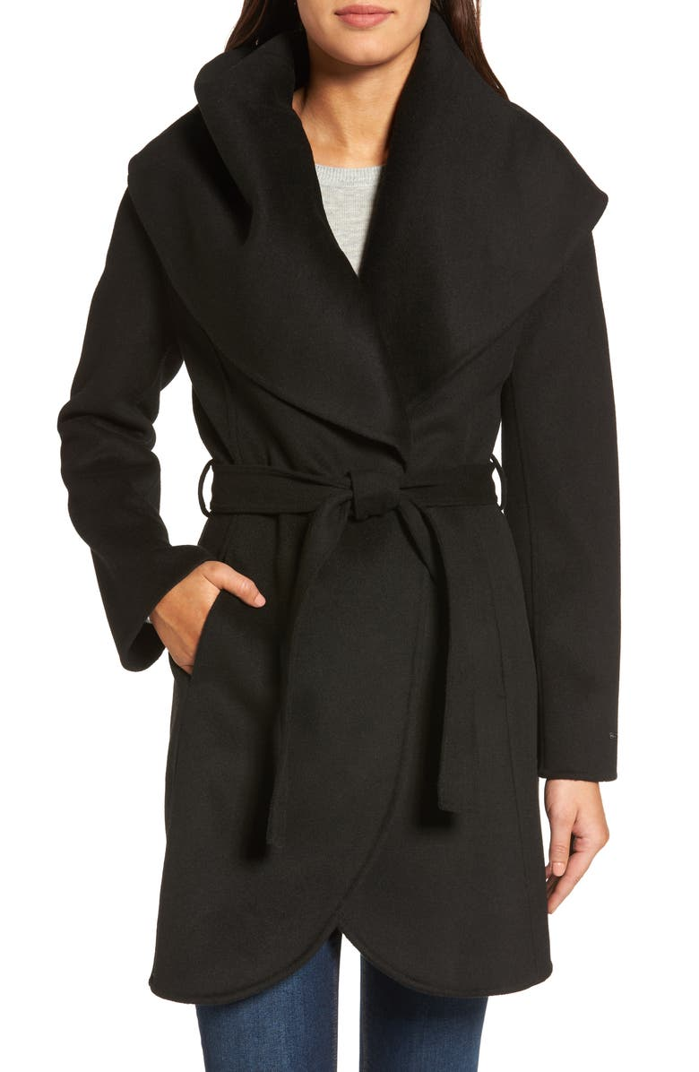 TAHARI Marla Double Face Wool Blend Wrap Coat, Main, color, 001
