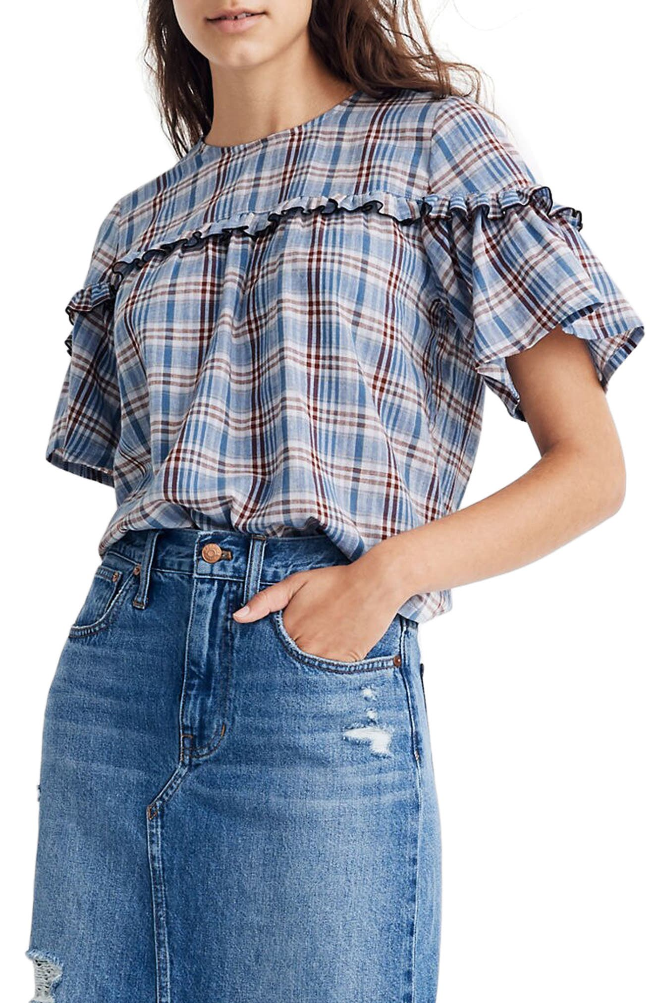 1930s Clothing Womens Madewell Ruffle Yoke Top In Plaid $72.00 AT vintagedancer.com