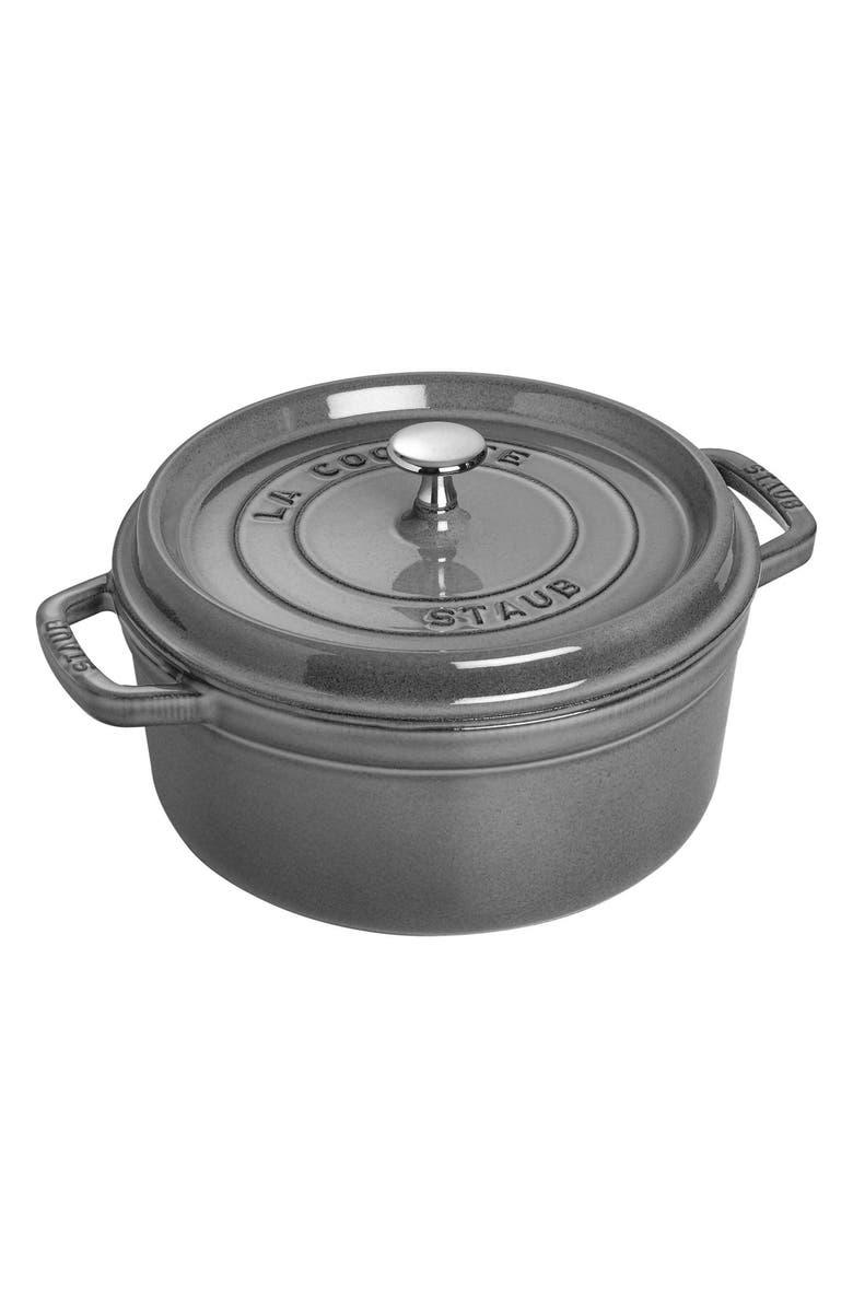 STAUB 4-Quart Round Enameled Cast Iron Cocotte, Main, color, GRAPHITE