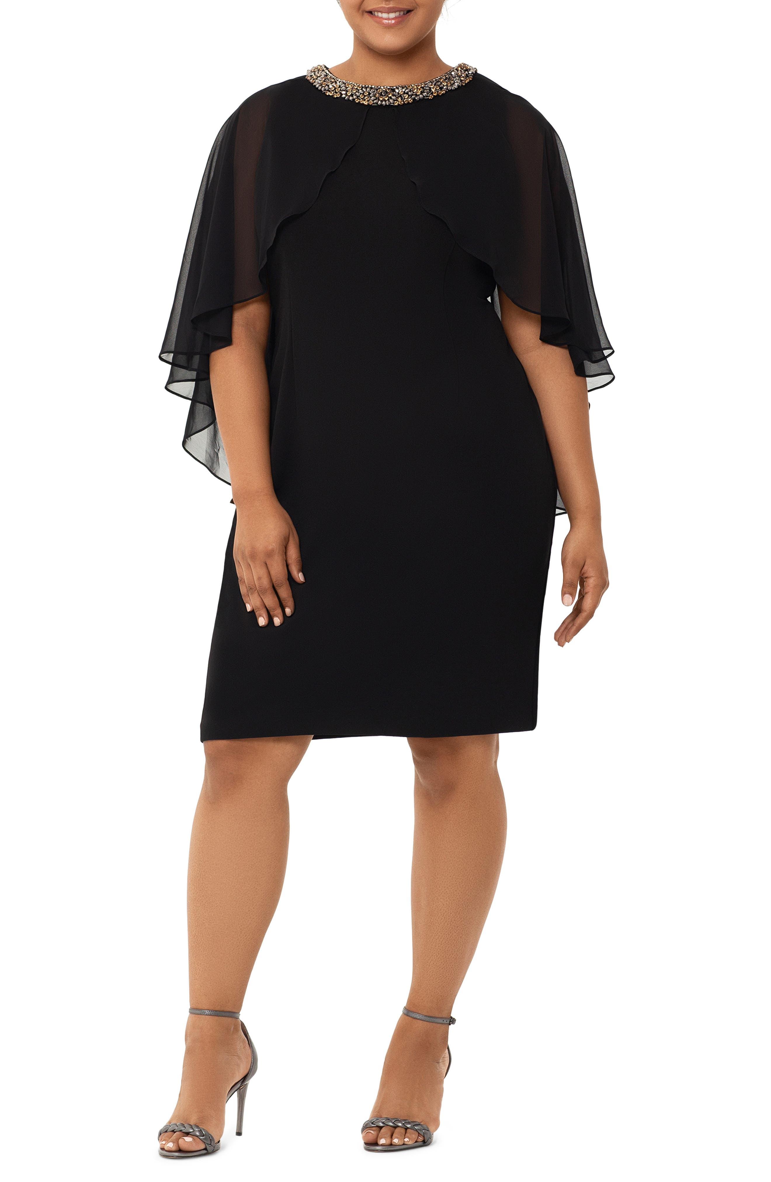 Plus Size Vintage Dresses, Plus Size Retro Dresses Plus Size Womens Xscape Chiffon Cape Sleeve Beaded Neckline Cocktail Dress $218.00 AT vintagedancer.com