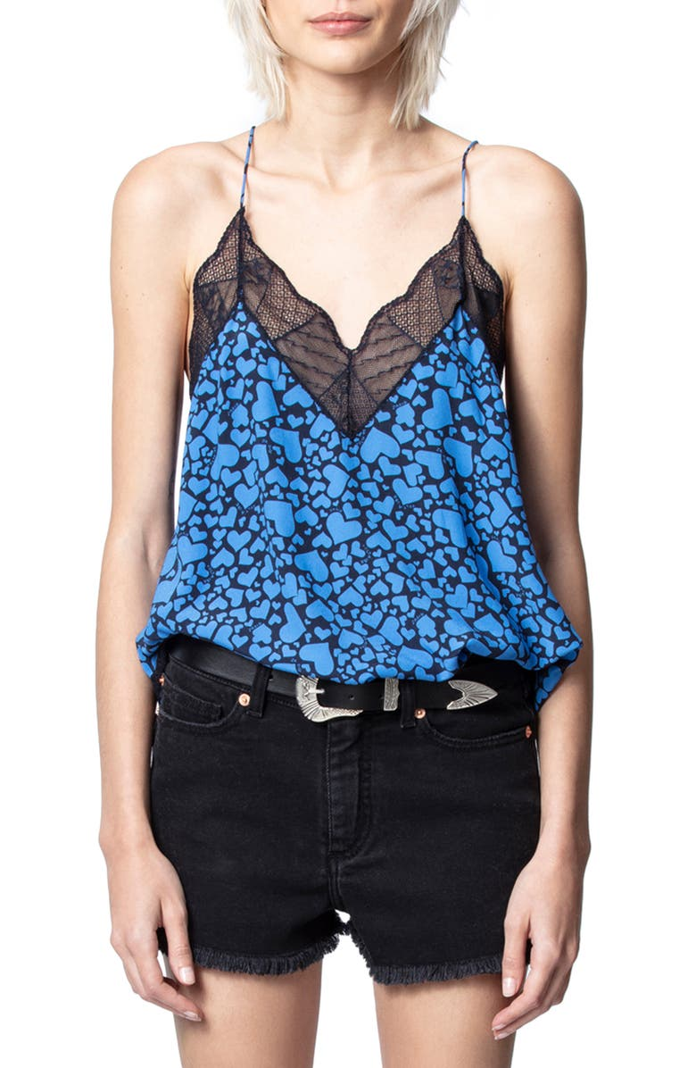 ZADIG & VOLTAIRE Christy Heart Print Camisole, Main, color, 474
