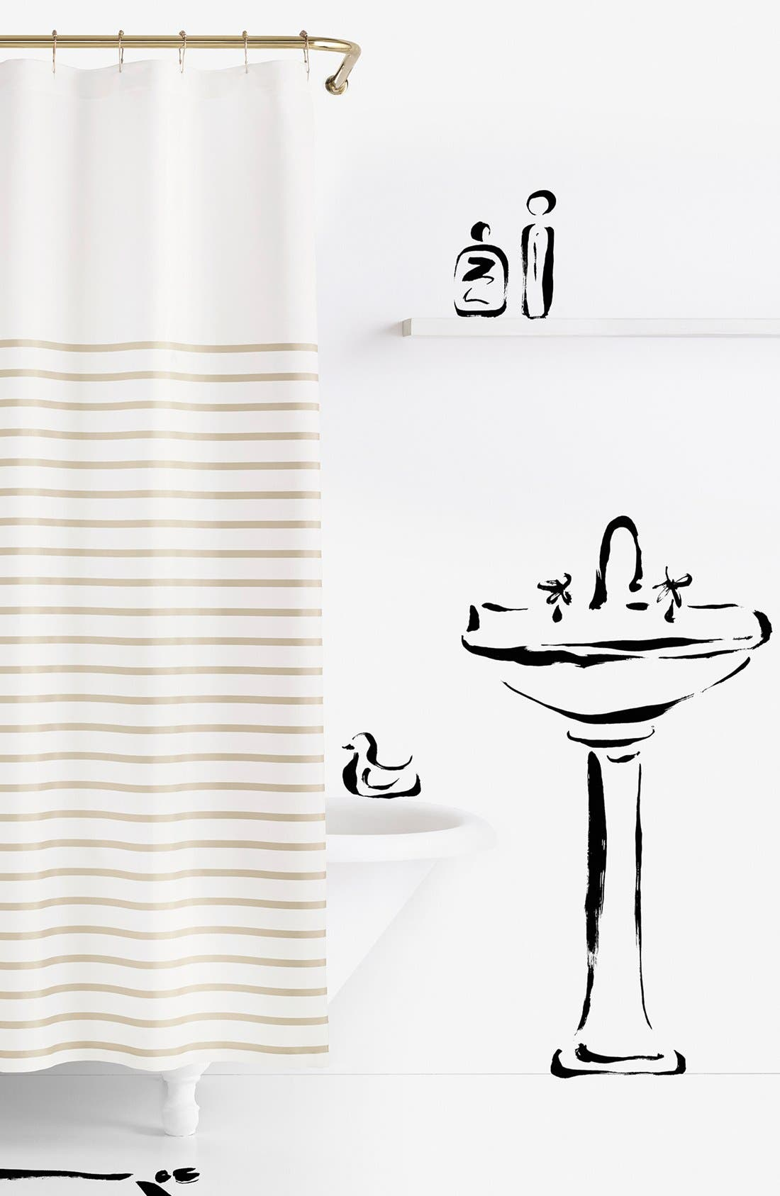 Image of kate spade new york harbour stripe shower curtain - beige
