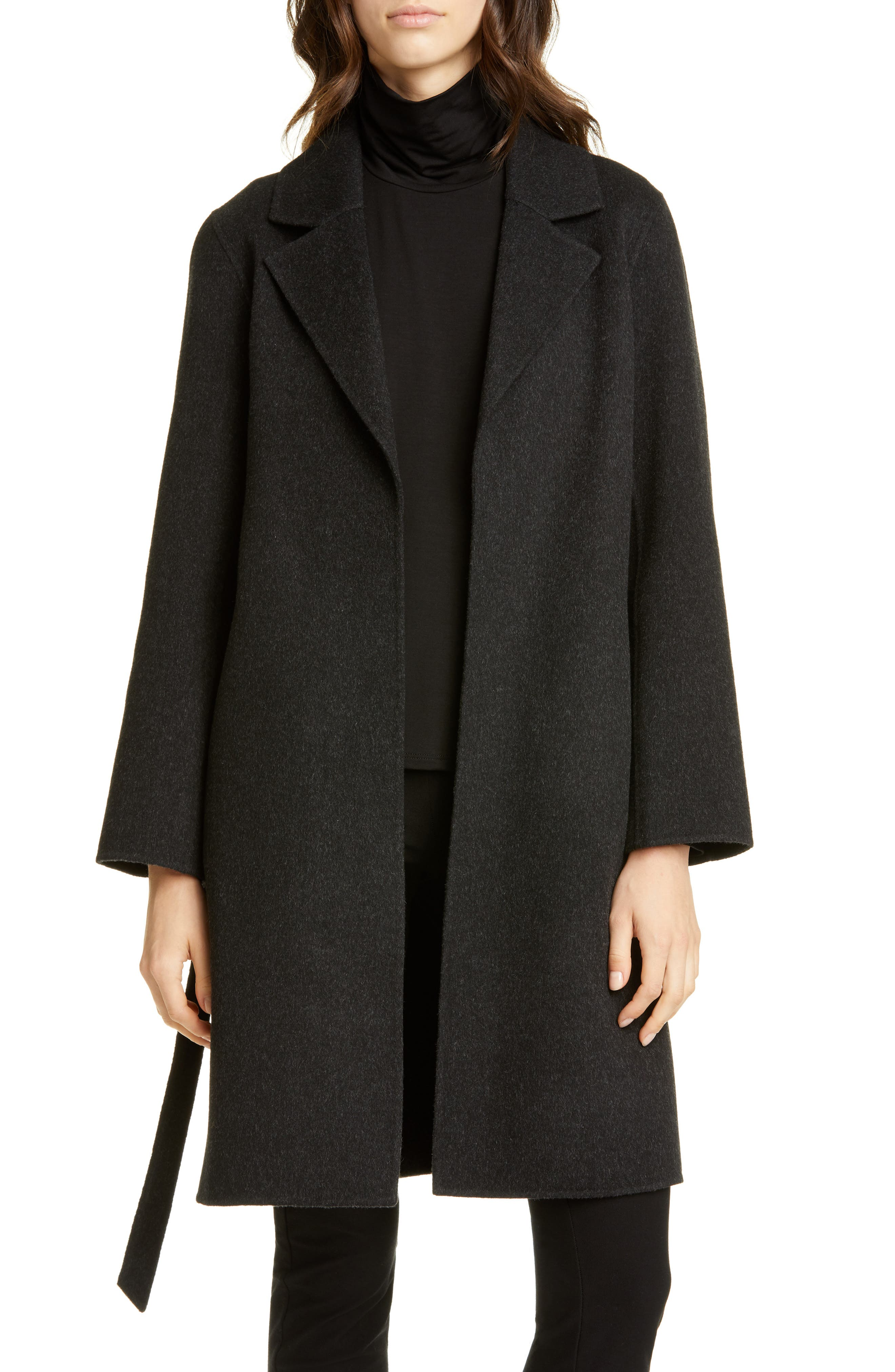 Eileen Fisher Notch Collar Wool & Cashmere Coat