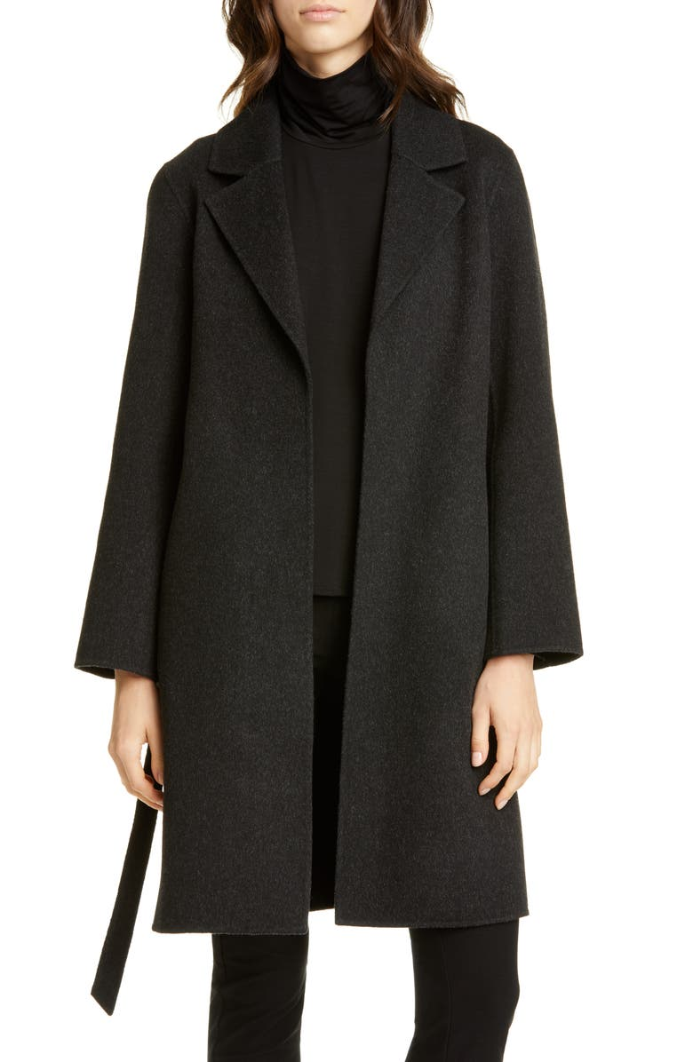 EILEEN FISHER Notch Collar Wool & Cashmere Coat, Main, color, CHARCOAL