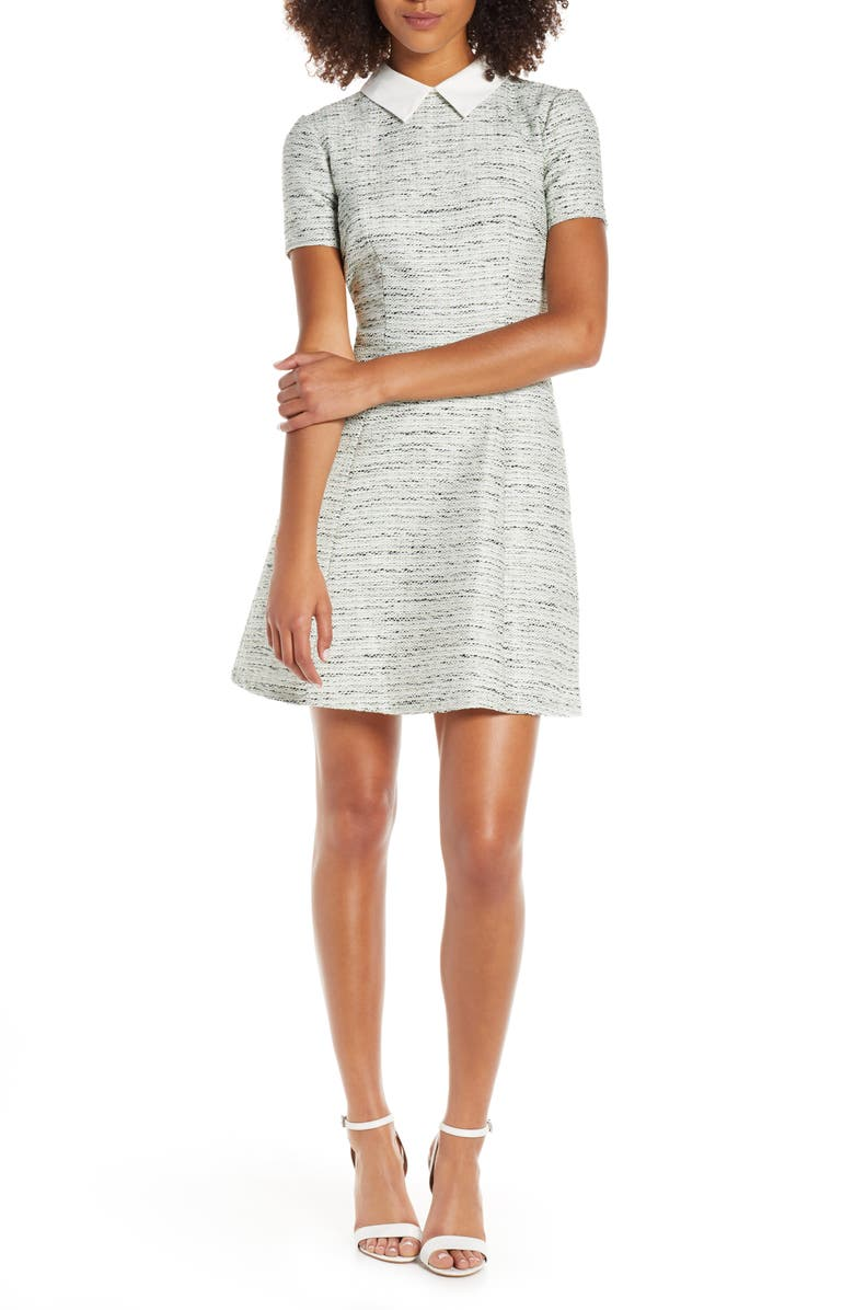GAL MEETS GLAM COLLECTION Tatum Highland Tweed A-Line Dress, Main, color, 320