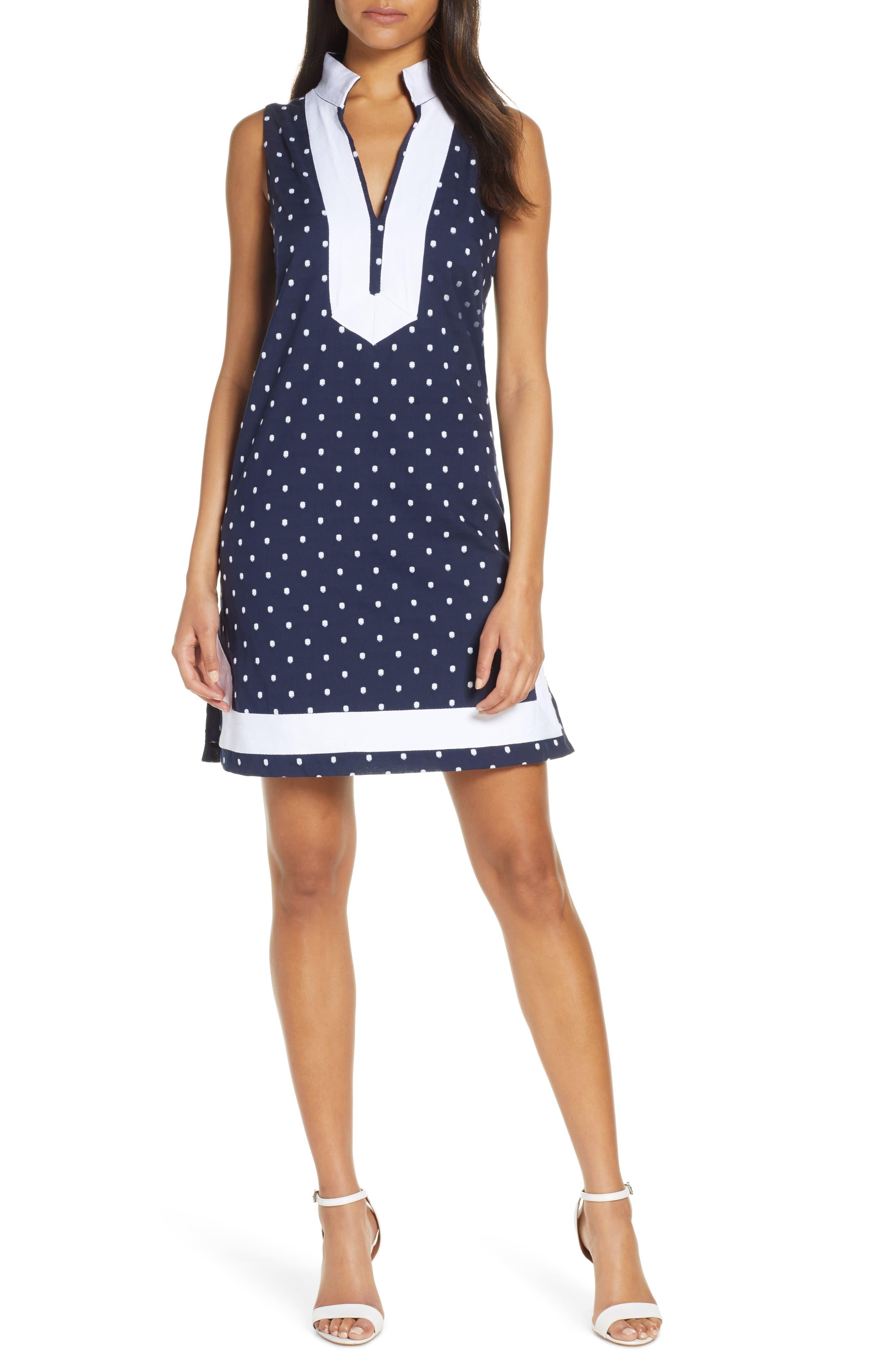Petite Eliza J Cotton Polka Dot Shift Dress, Black