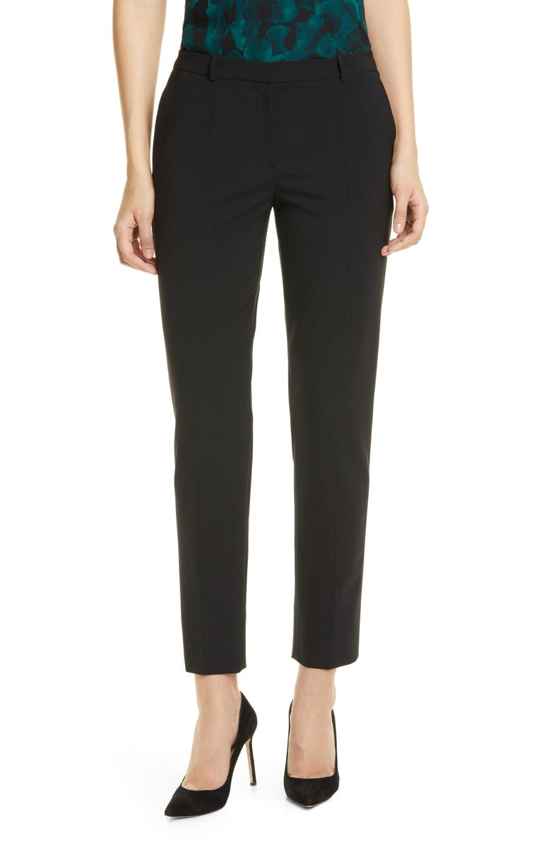 BOSS Tatestellito Tropical Stretch Wool Trousers, Main, color, BLACK