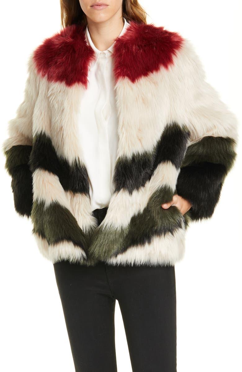 FRAME Stripe Faux Fur Jacket, Main, color, 250