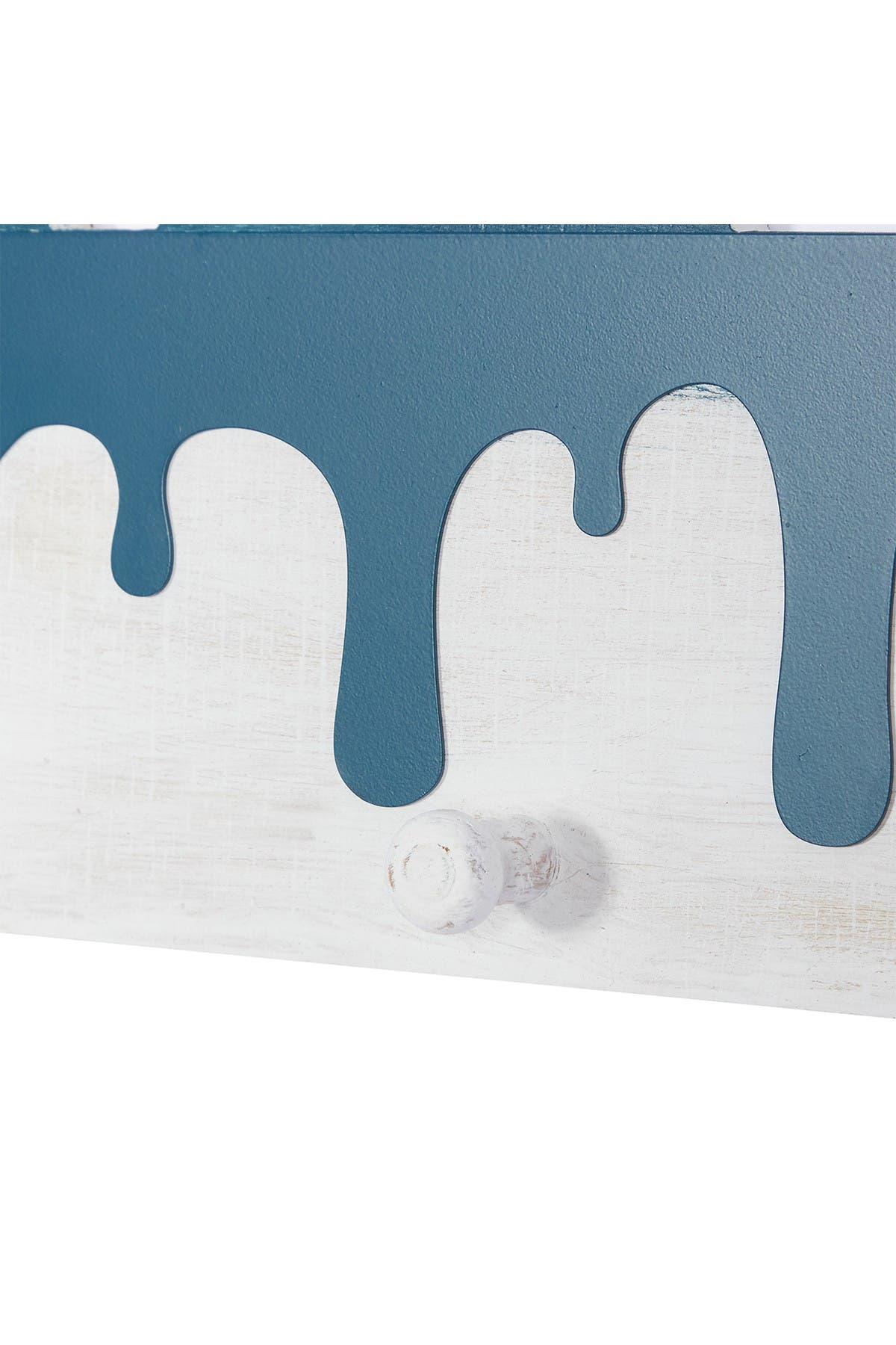 "Image of Willow Row Blue Wood Coastal Wall Hook, 10"" x 19"" x 2"""