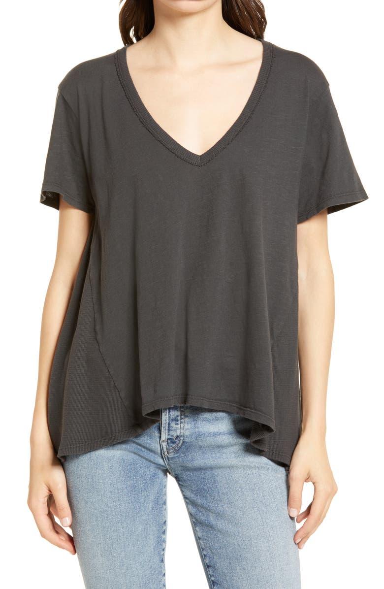 TREASURE & BOND Mix Media T-Shirt, Main, color, CHARCOAL GREY