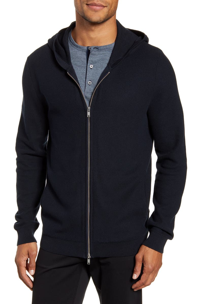 THEORY Lievos Slim Fit Zip Hoodie, Main, color, ECLIPSE