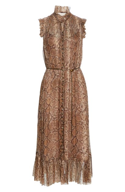 Zimmermann BOTANICA PYTHON PRINT METALLIC SILK MIDI DRESS