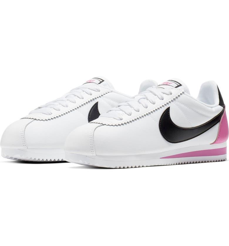 NIKE Classic Cortez Premium Sneaker, Main, color, WHITE/ BLACK/ CHINA ROSE
