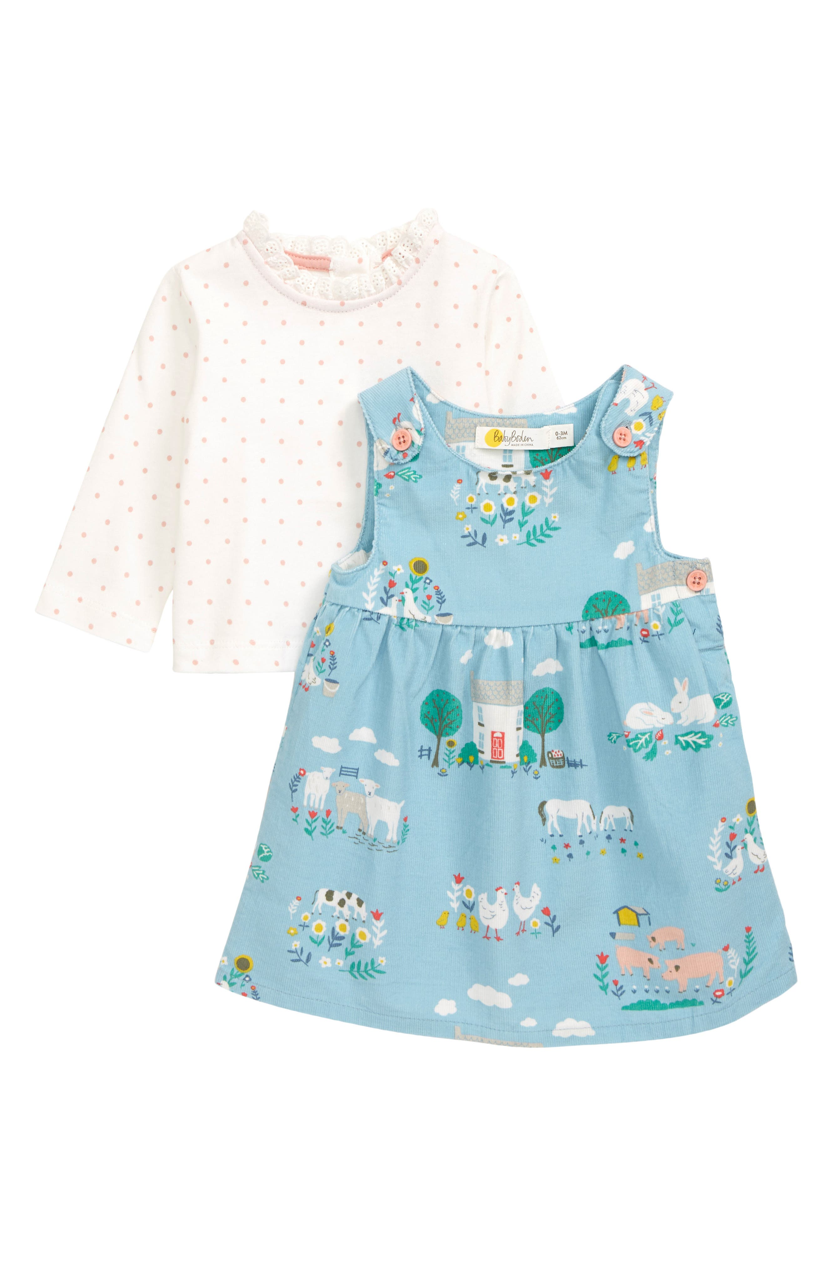 Sweet and charming (just like your little one), this barn-themed set features a dotted, lace-trimmed top and a cute corduroy pinafore dress. Style Name: Mini Boden Pinnie Shirt & Dress Set (Baby). Style Number: 6096412. Available in stores.