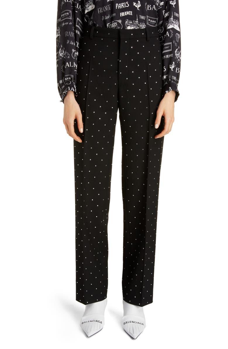 BALENCIAGA Embellished Straight Leg Wool Pants, Main, color, BLACK
