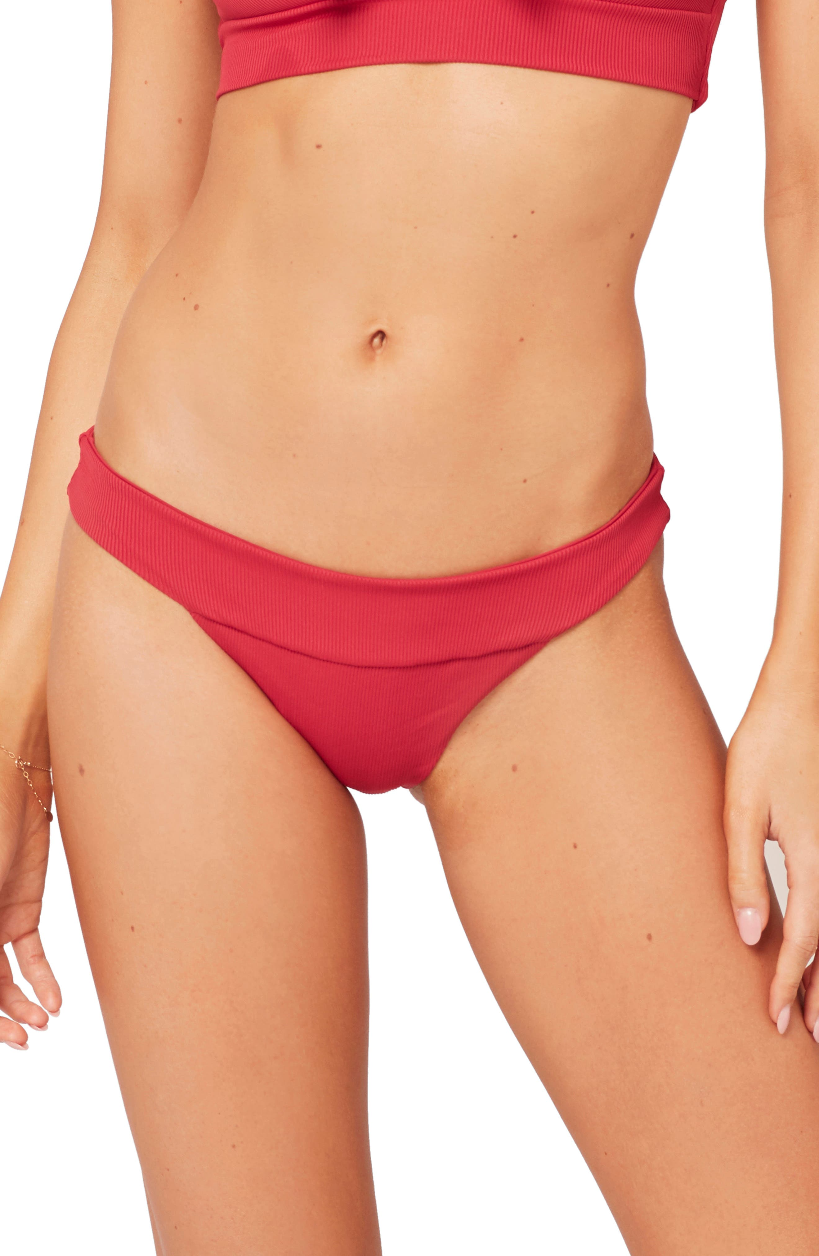 L Space Veronica Ribbed Bikini Bottoms, Red