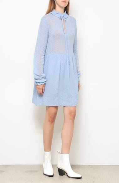 Long Sleeve Floral Diagonal Stripe Georgette Dress, video thumbnail