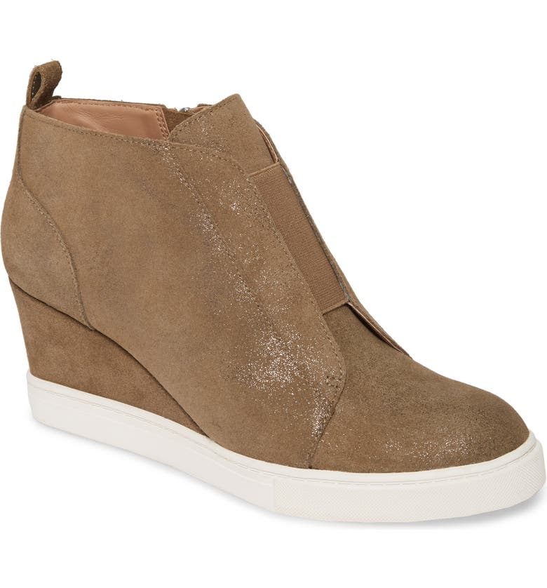 LINEA PAOLO Felicia Wedge Bootie, Main, color, TAUPE/ BROWN SUEDE