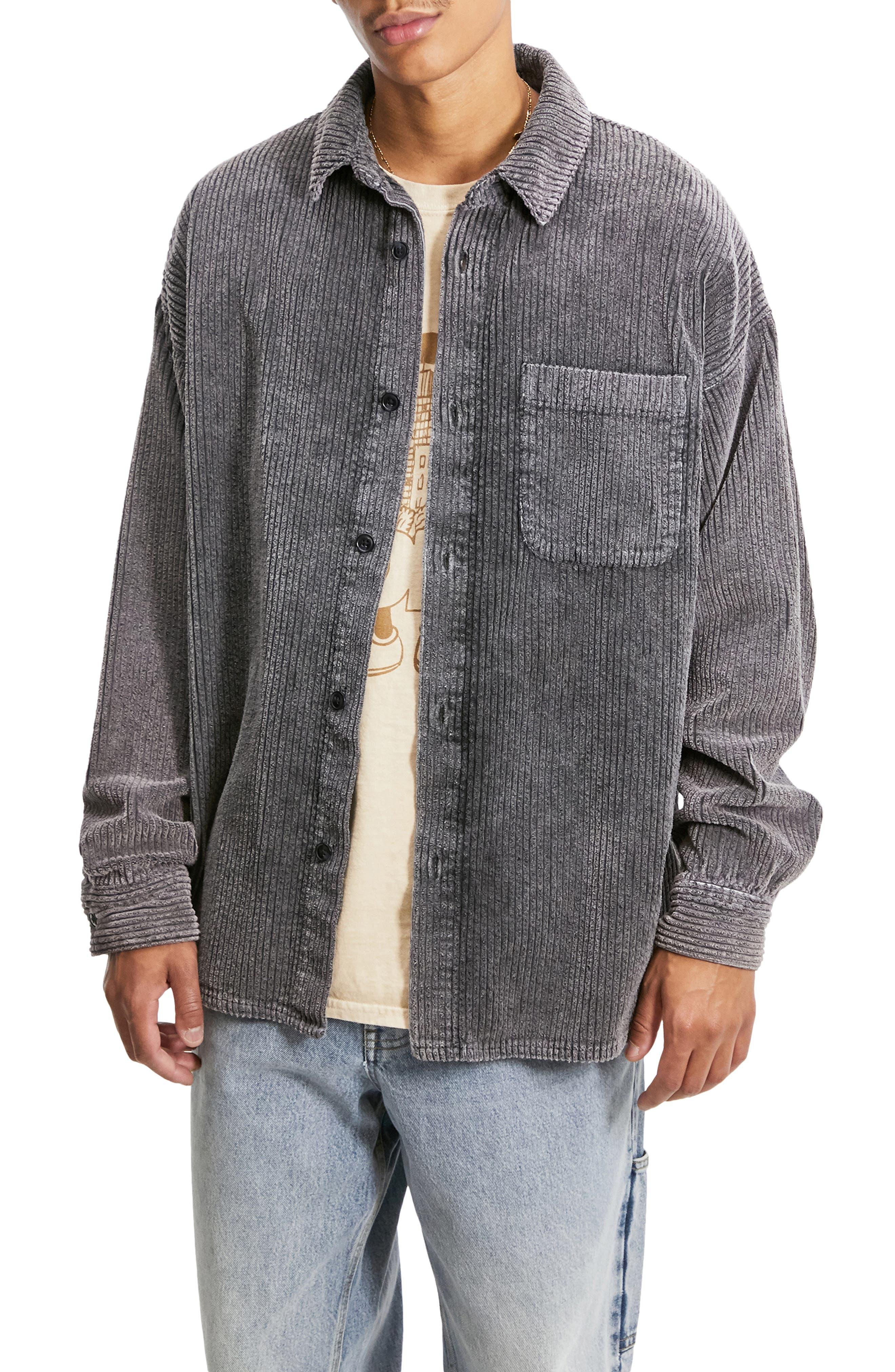 Acid Wash Corduroy Shirt Jacket