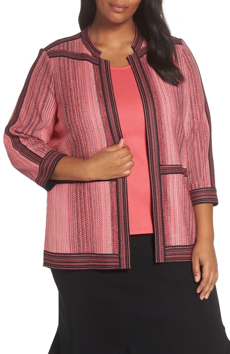 MING WANG Stripe Knit Jacket, Main, color, TEAKETTLE/ BLACK/ IVORY