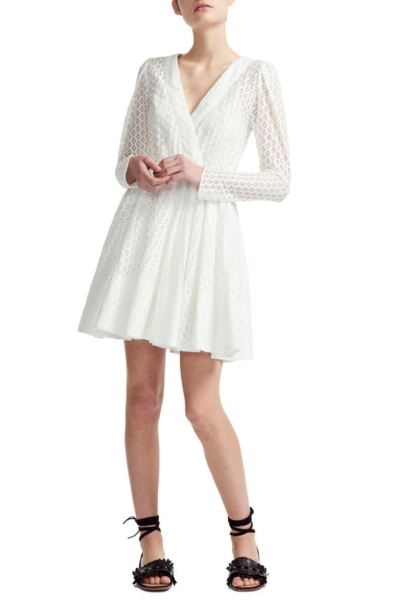 MAJE Ralina Long Sleeve Guipure Lace Dress, Main, color, 100