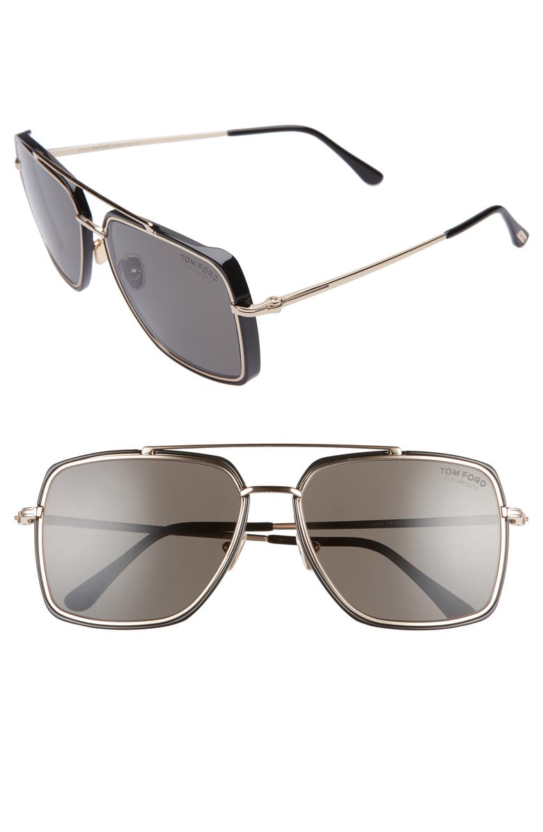 TOM FORD Lionel 60mm Polarized Square Aviator Sunglasses, Main, color, 711