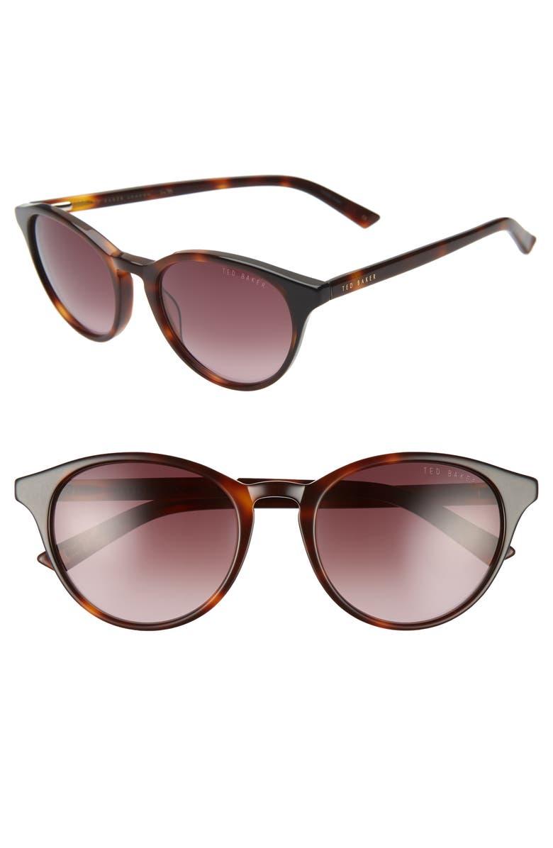 TED BAKER LONDON 52mm Gradient Cat Eye Sunglasses, Main, color, TORTOISE