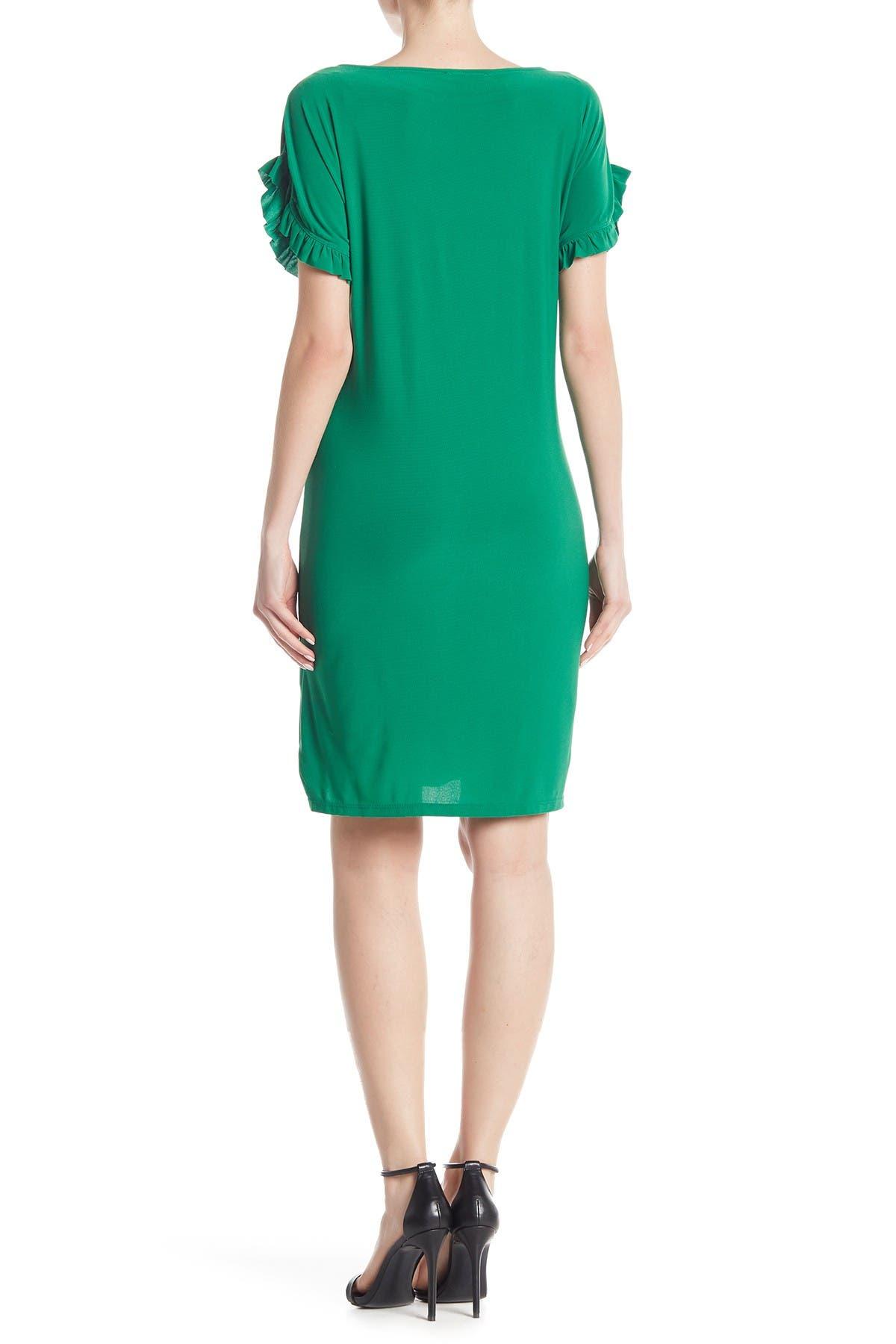 Image of TASH + SOPHIE Knit Ruffle Sleeve Dress