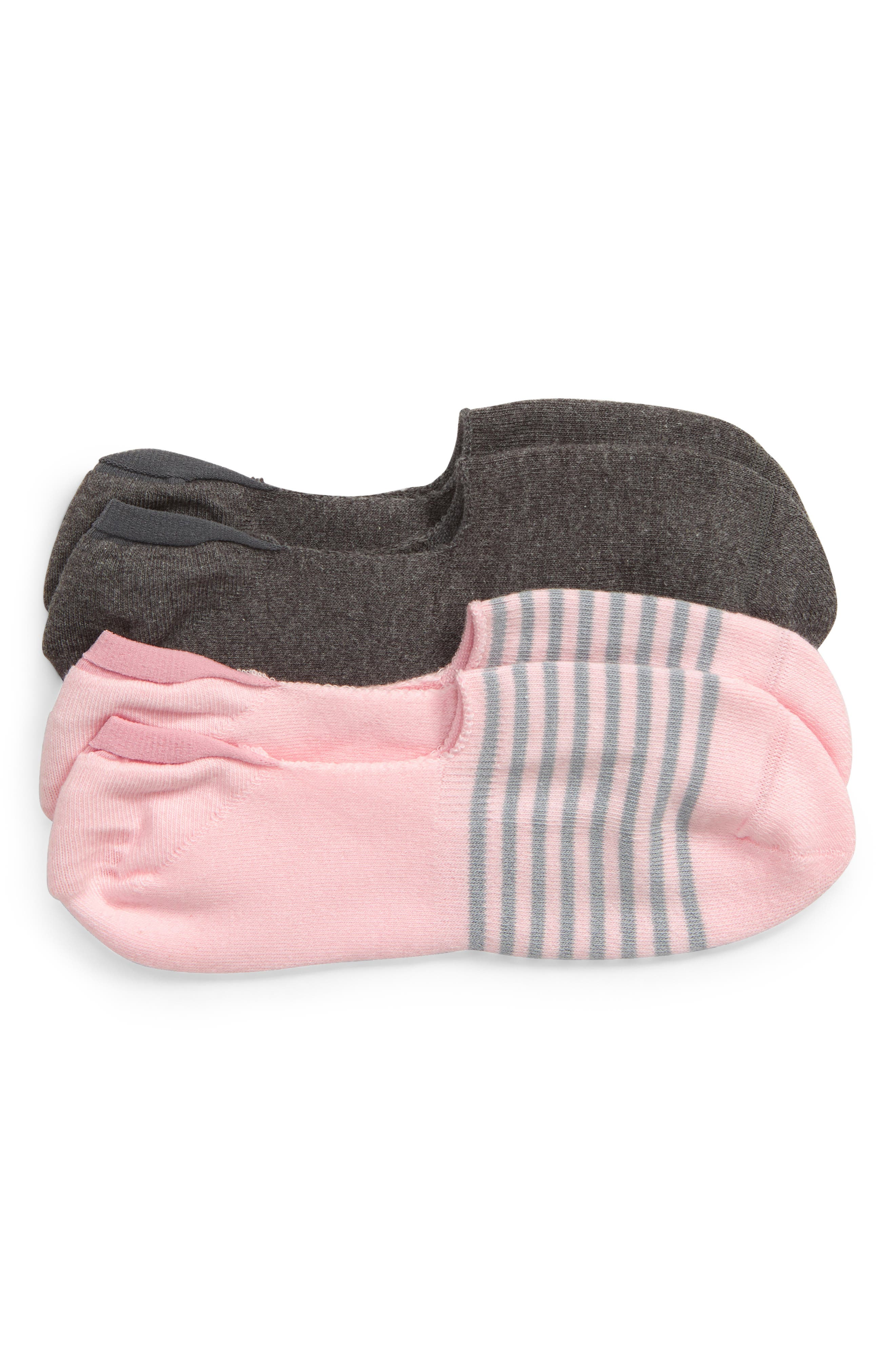 ,                             Assorted 2-Pack Liner Socks,                             Main thumbnail 1, color,                             PINK/ CHARCOAL