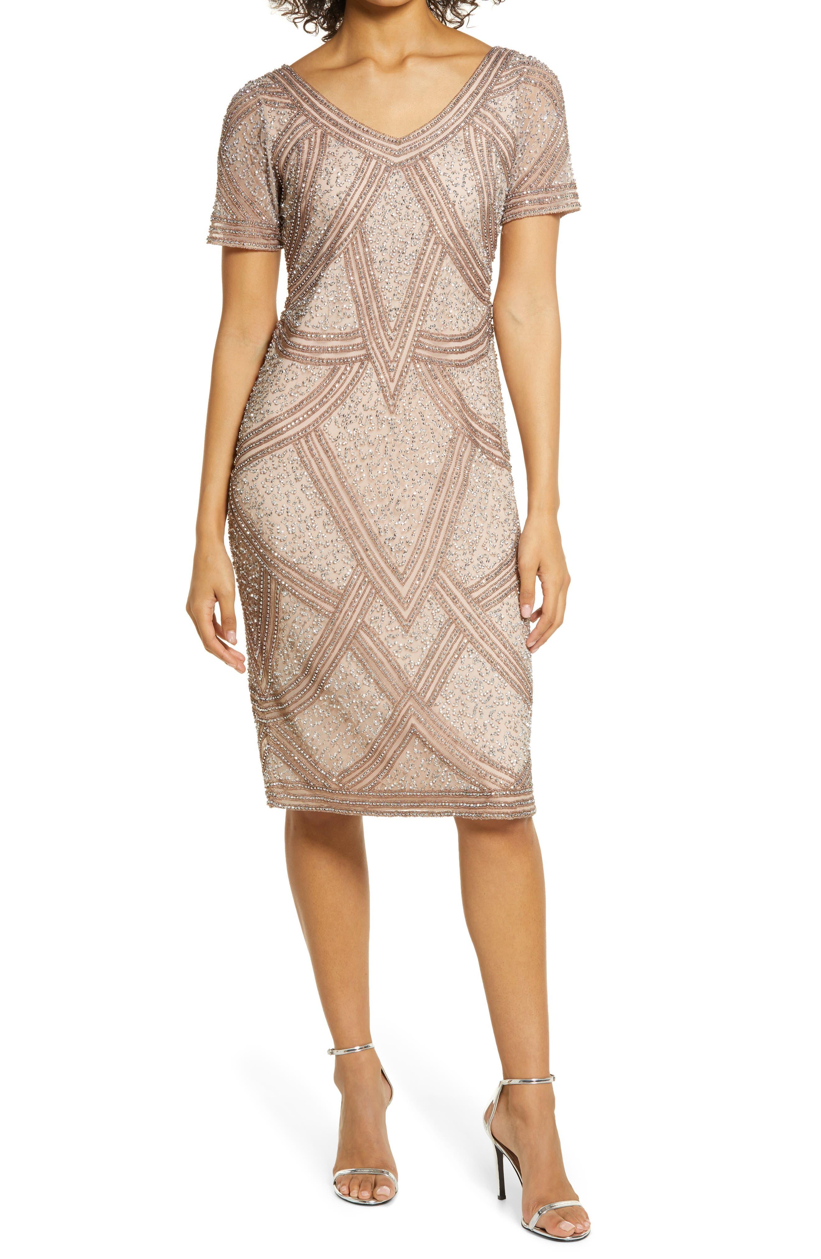 Great Gatsby Dress – Great Gatsby Dresses for Sale Womens Pisarro Nights Beaded Cocktail Sheath Midi Dress Size 18 - Pink $228.00 AT vintagedancer.com