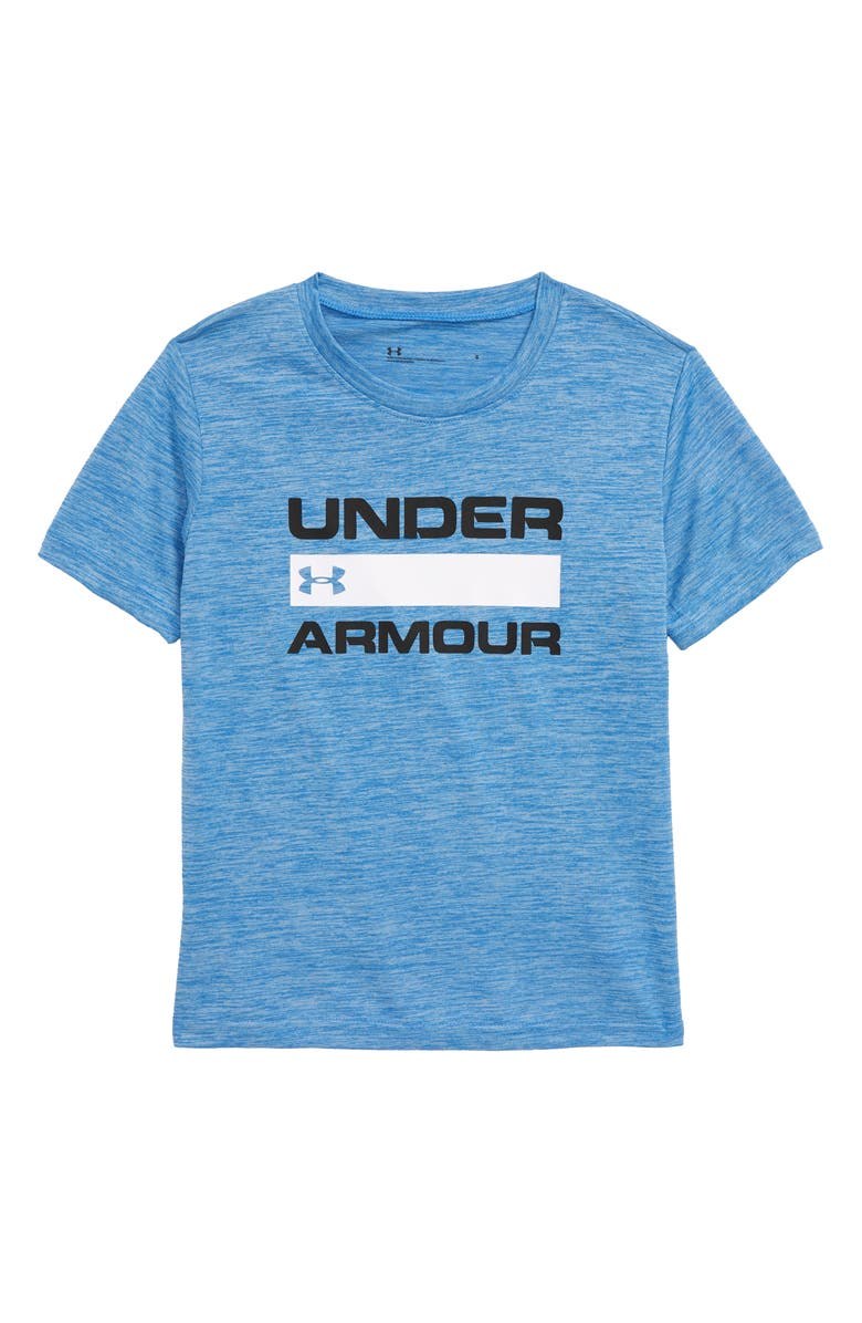 UNDER ARMOUR Branded Twist HeatGear<sup>®</sup> Graphic T-Shirt, Main, color, WATER