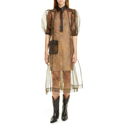 Ganni Tiger Stripe Print Sheer Organza Midi Dress, Brown