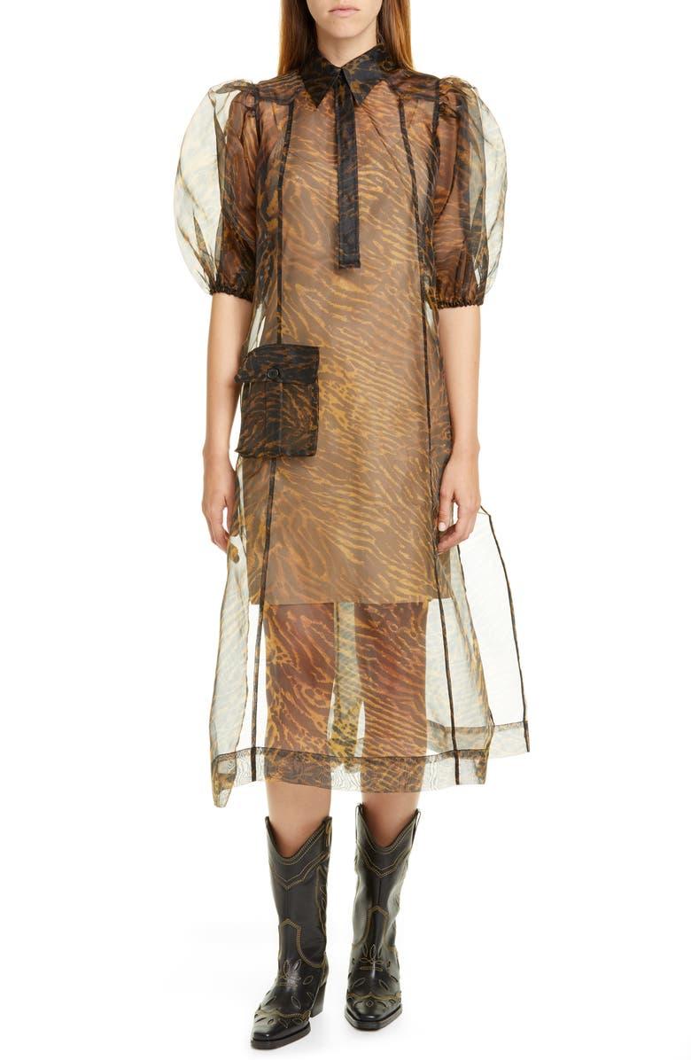GANNI Tiger Stripe Print Sheer Organza Midi Dress, Main, color, TIGER