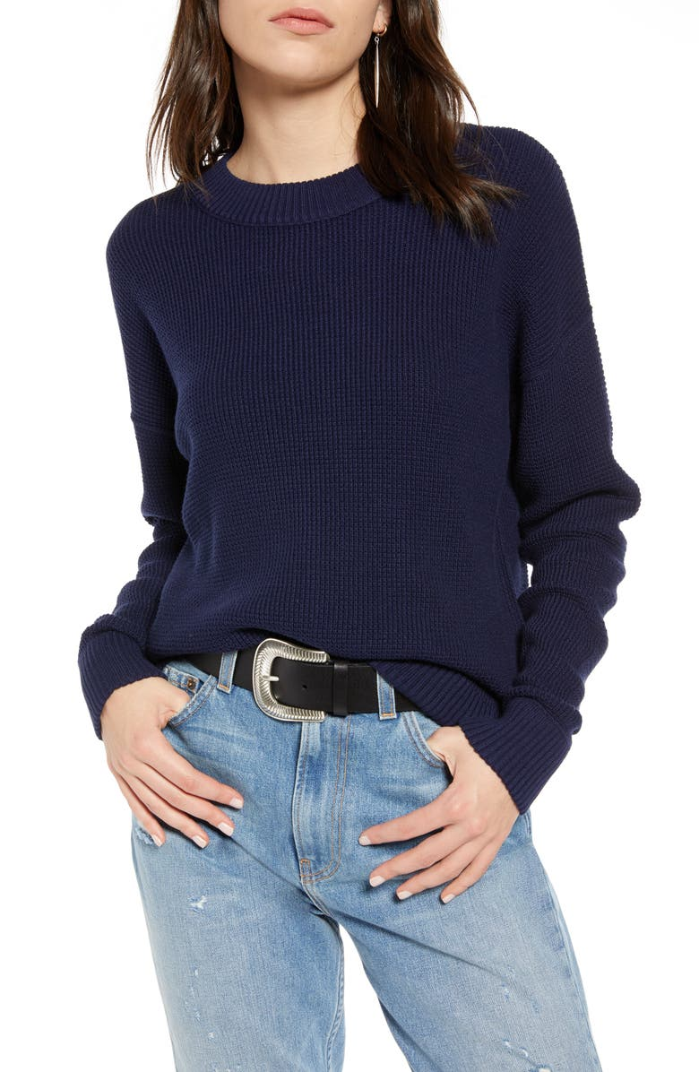 TREASURE & BOND Thermal Stitch Pullover, Main, color, NAVY MARITIME